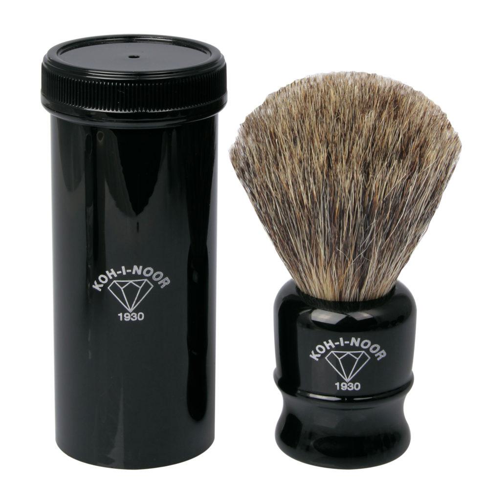 1930 Pure Grey Badger Hair Travel Shaving Brush In Black
